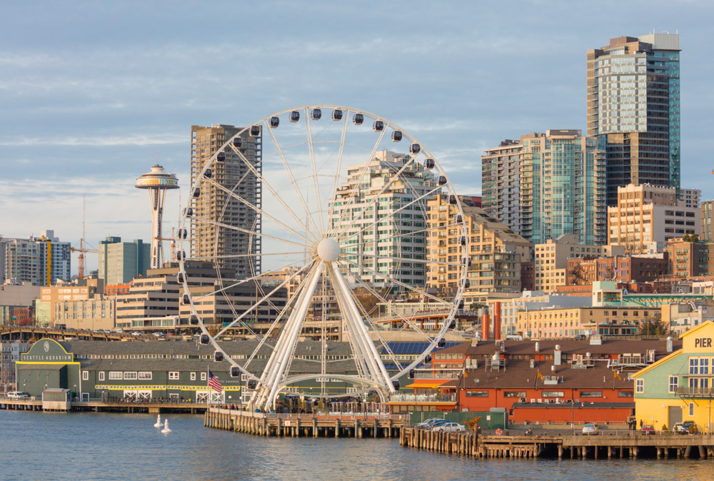 Seattle Great Wheel, Space Needle, Docks and Skyline. Seattle. 2017. Canon EOS 5DS R.