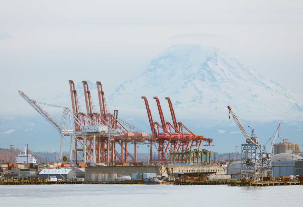Dock Cranes and Mt. Rainier. Seattle. 2017. Canon EOS 5DS R.