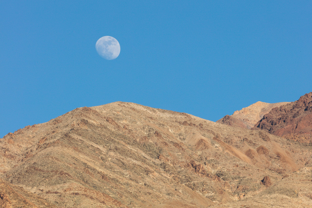 Moon over Amargosa Mountains looking up to Dante's View. 2018. Canon EOS 5DS R