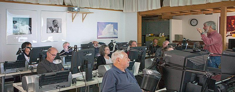 Teaching in our Digital Lab. Stephen Johnson Photography. Pacifica Center for the Arts.