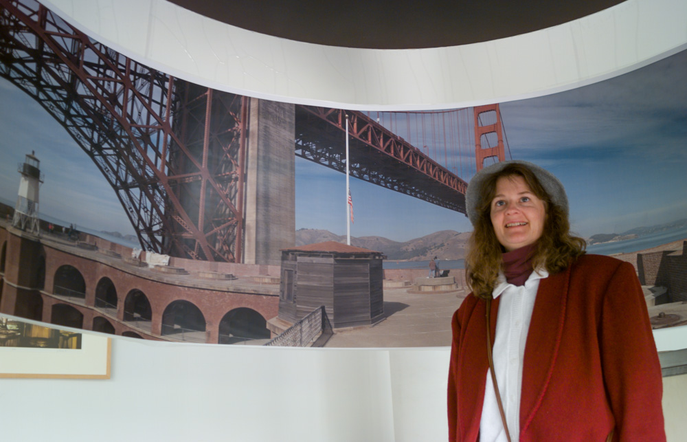 Mary Ford in the Hanging Panorama of the Golden Gate. The Digital Pond, San Francisco. February 2, 1996.