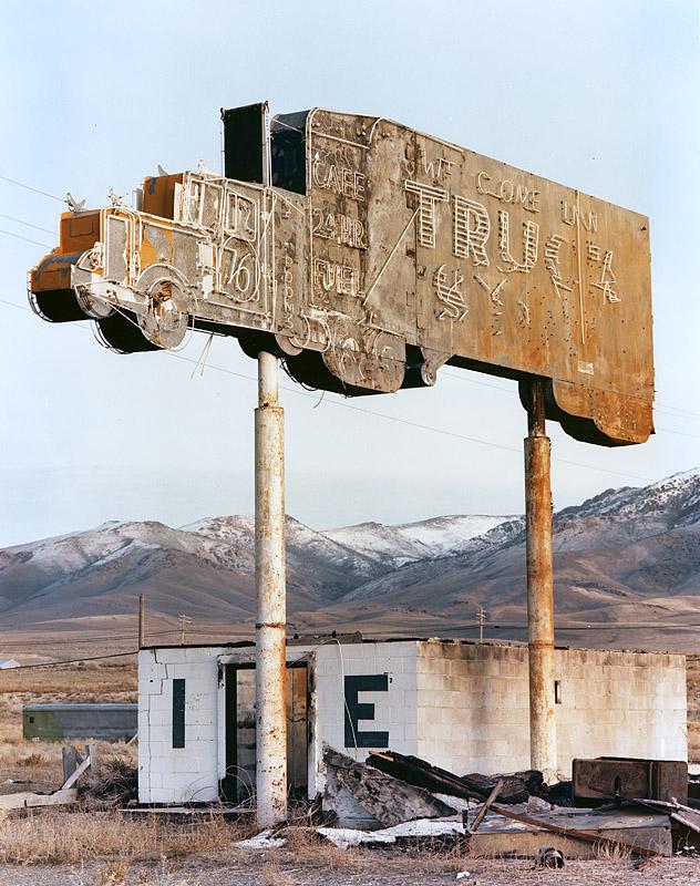 Truck Stop Sign, Winnemucca, Nevada. 1982. Kodak Vericolor 4x5 color negative.