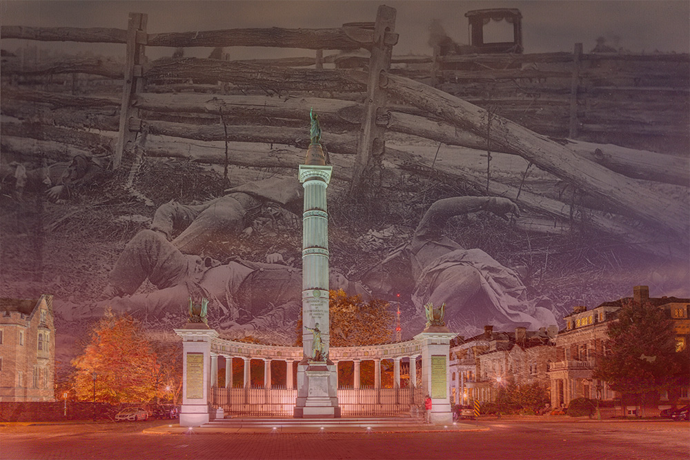 Jefferson Davis Monument Memorialized. Richmond, VA 2018 composite with 1862 Alexander Gardner photograph of four dead Confederate soldiers. Stephen Johnson. 2018.  Canon EOS 5DS R