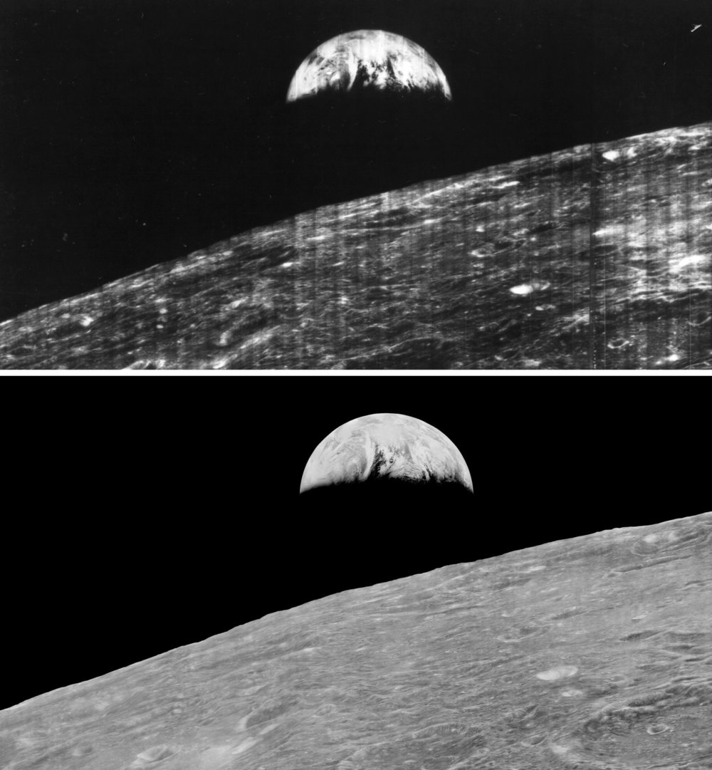 Earthrise over Moon. Lunar Orbiter. 1966. Top: Original view of image from 1966, Bottom: Recovered Data from Lunar Orbiter Image Recovery Project (LOIRP) 2008-2014.