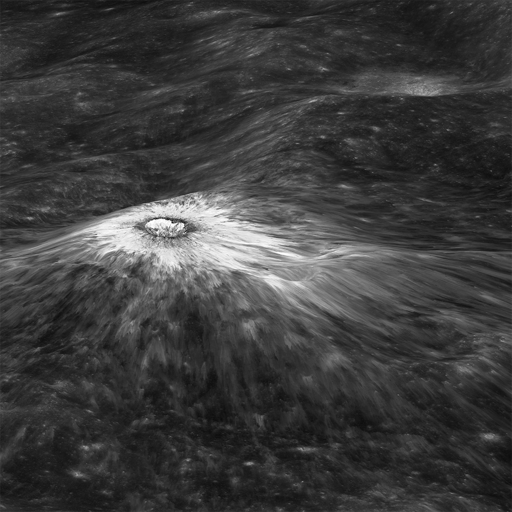 Detail. Chappy Crater. 2016. The Moon. Lunar Reconnaissance Orbiter. NASA.