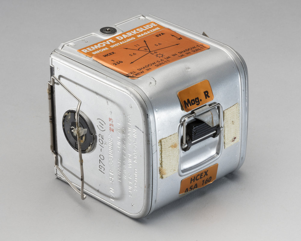 "Hasselblad Lunar Film Magazine. During the Apollo 11 mission, Magazine R was used inside the lunar module ""Eagle."" Smithsonian National Air & Space Museum."