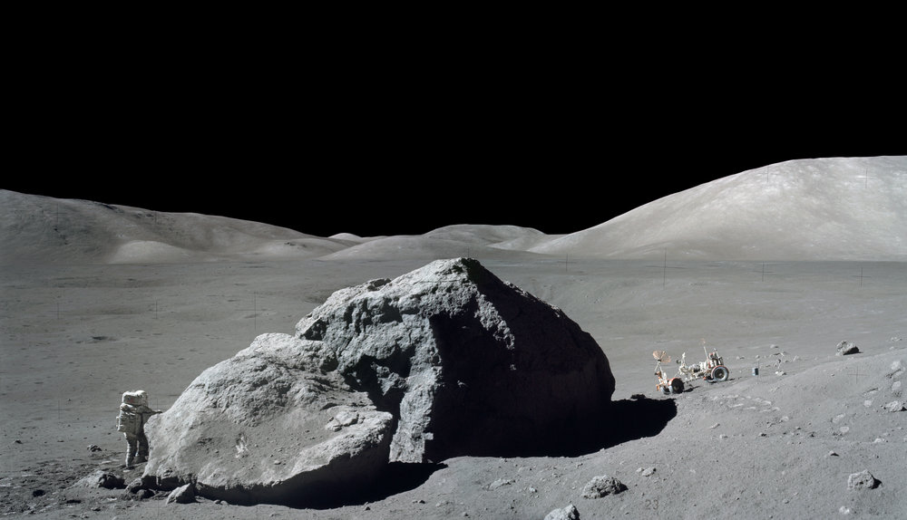 Jack Schmitt at Tracy's Rock, East Massif at Taurus-Littrow with Lunar Rover. Apollo 17 . Moon. NASA. 1974