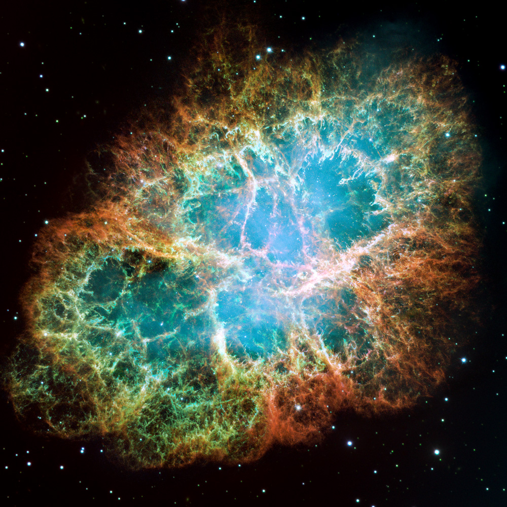 Crab Nebula. Hubble Space Telescope. NASA. 1999-2000. 6500 light years away. Seen from Earth exploding in 1054 AD, already 5400 years after the event.