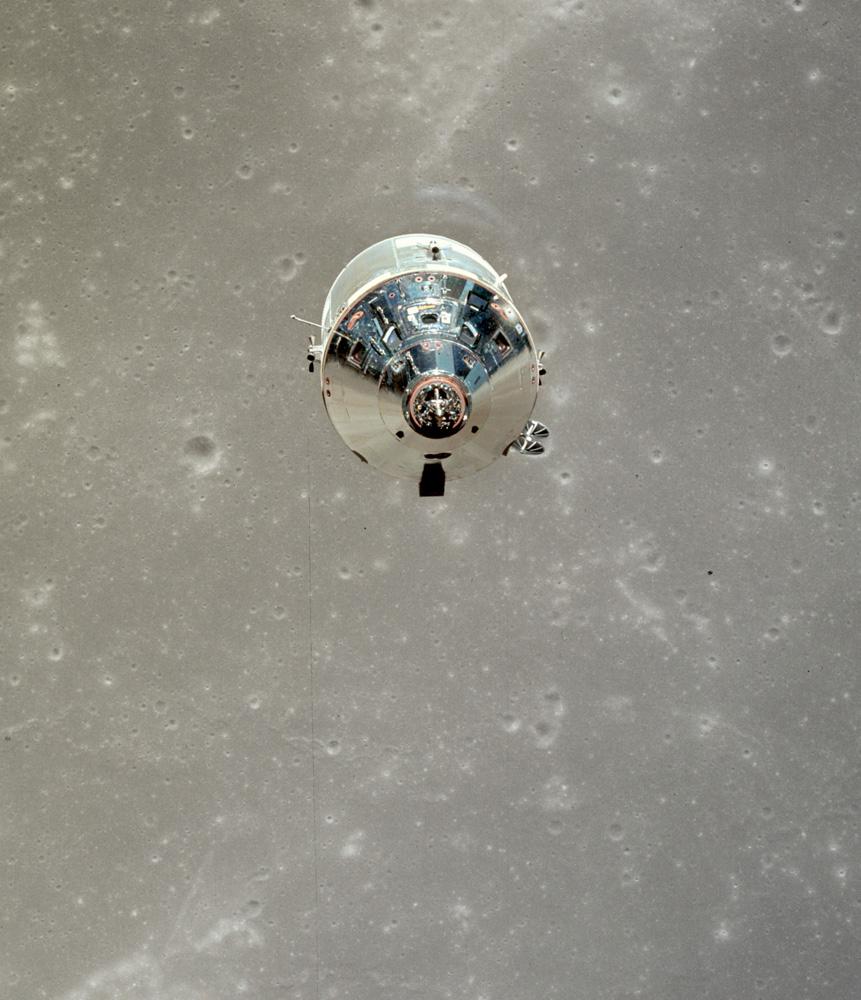 Apollo 11 Command Module over Moon.. NASA. 1969. Hasselblad with Zeiss Lens. 70mm Kodak Ektachrome.