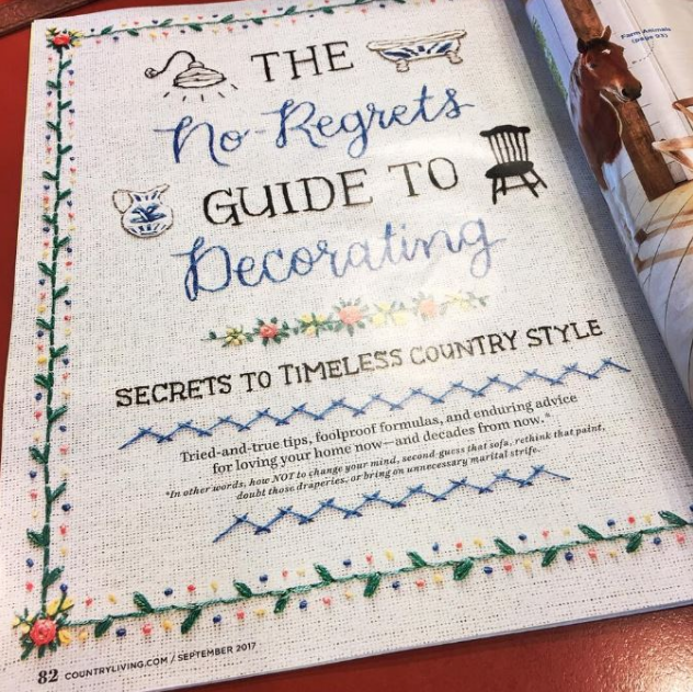 Hand embroidered cover story - Tamara Harper created custom hand embroidery as illustrative elements for the Country Living magazine cover story in September 2017. Published in print and online.