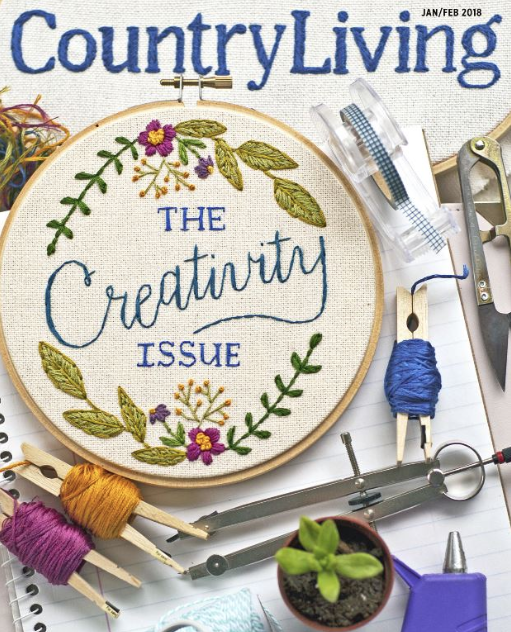 Embroidered Cover - Tamara Harper's cover design featuring hand-lettered embroidery was chosen as a top finalist for Country Living magazine January 2018.Tamara Harper was chosen as