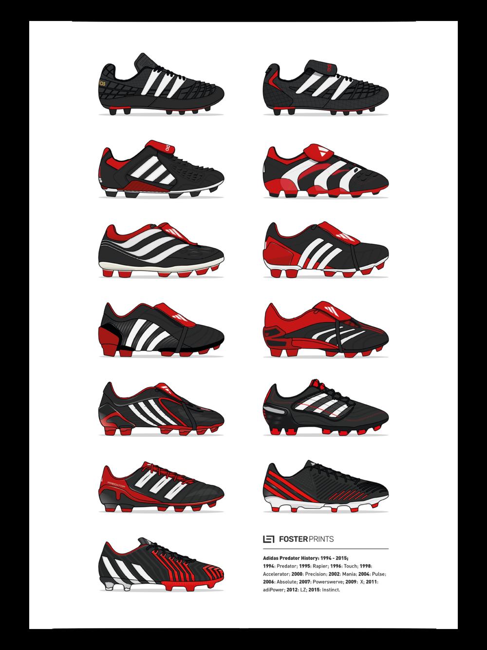 8b4d76b4d ... ireland adidas predator history football poster 1994 2015 u2014 foster  prints 9e076 c25cd
