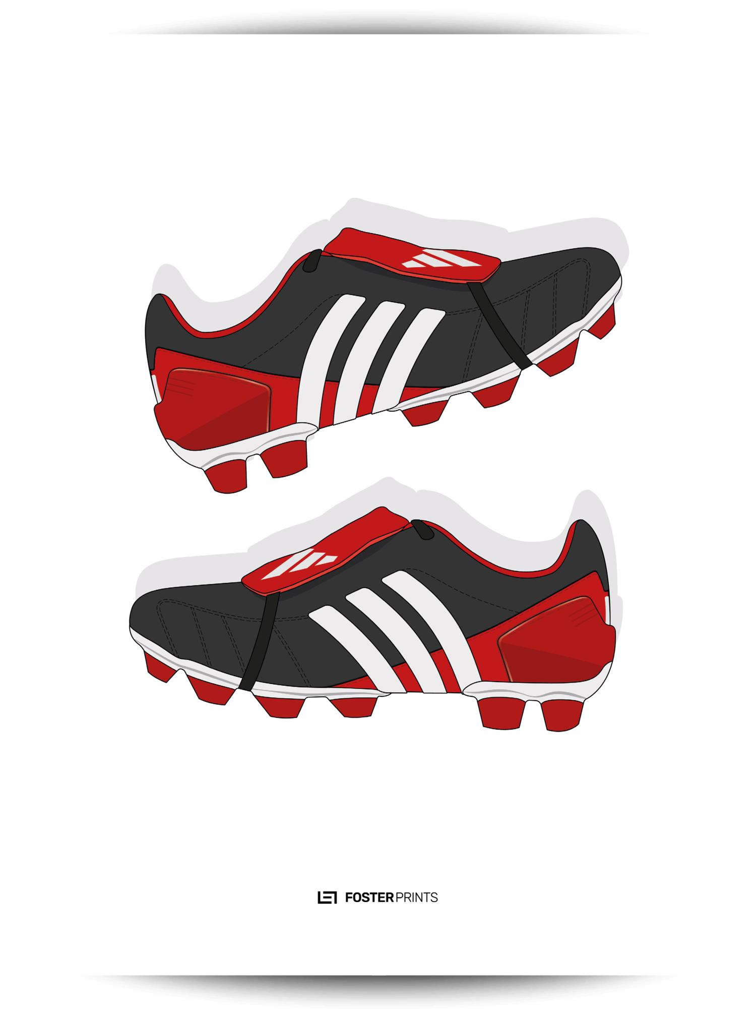 buy online c9160 aa3a6 Adidas Predator Mania Red Black Football Poster — Foster Prints -  Illustrated Football Posters