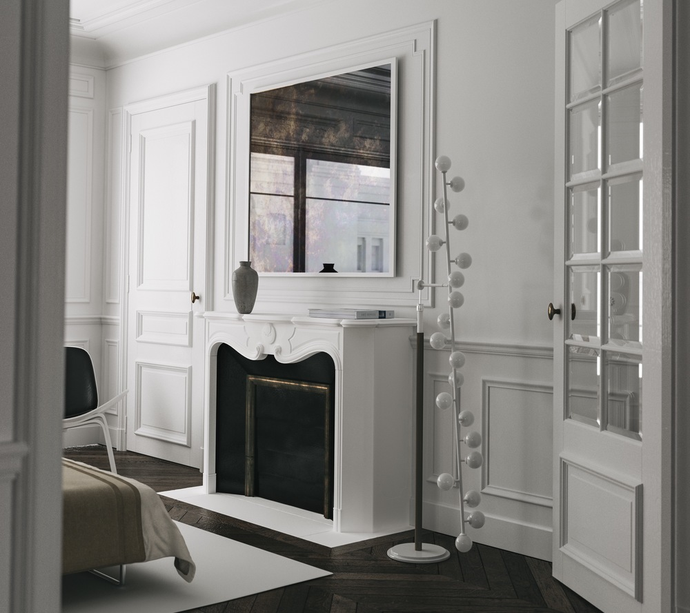 Antiqued framed white mirror over nightstand by Mirror Cooperative.