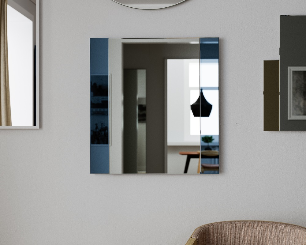 1940s style wall mirror with blue mirrored panels.