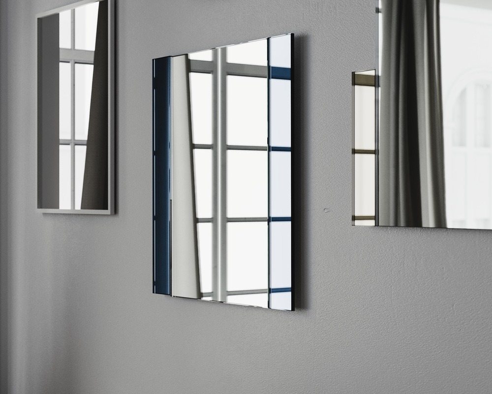 Side view of blue Deco frameless wall mirror