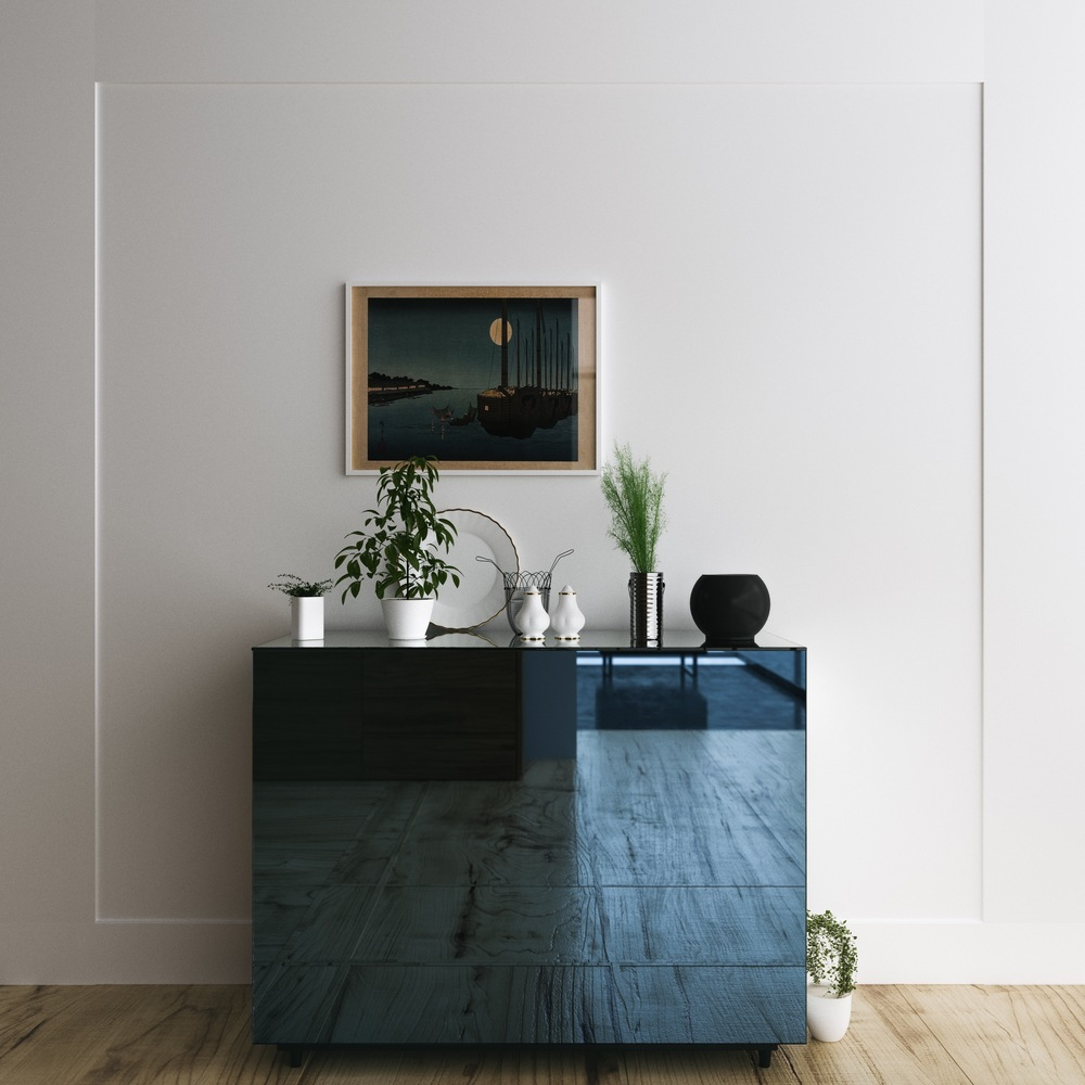 blue mirrored console table