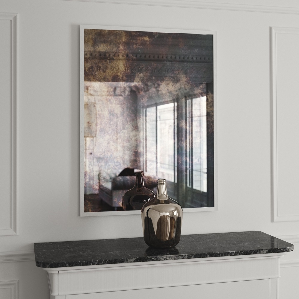 White framed mirror image of frameless wall mirror for Large white framed mirror