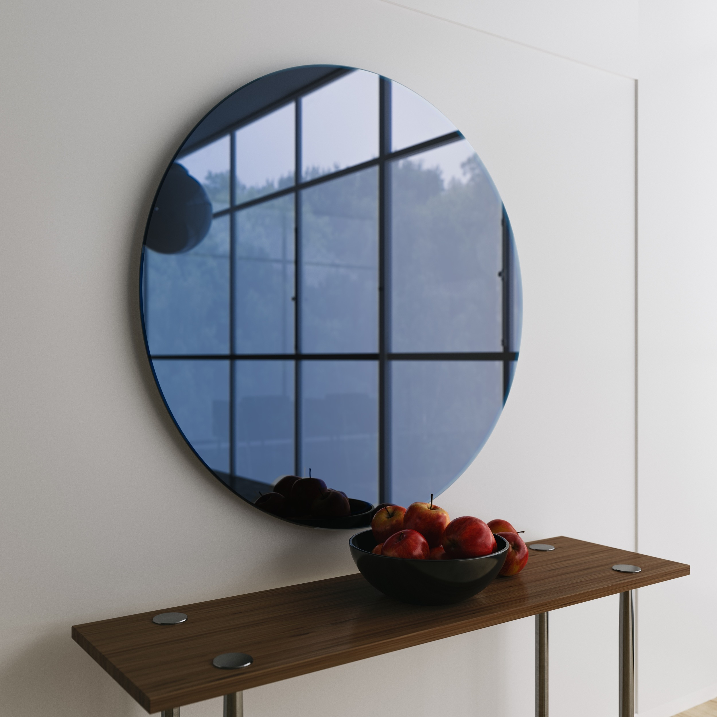 Blue Hanging WallMirror. Photograph taken atprivate residence in LA.