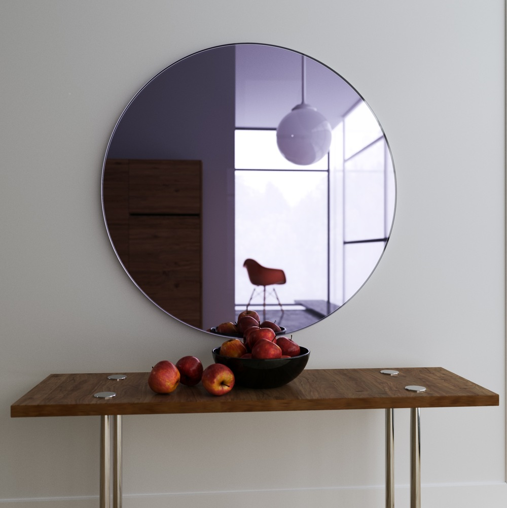 Hanging, frameless round purple wall mirror.