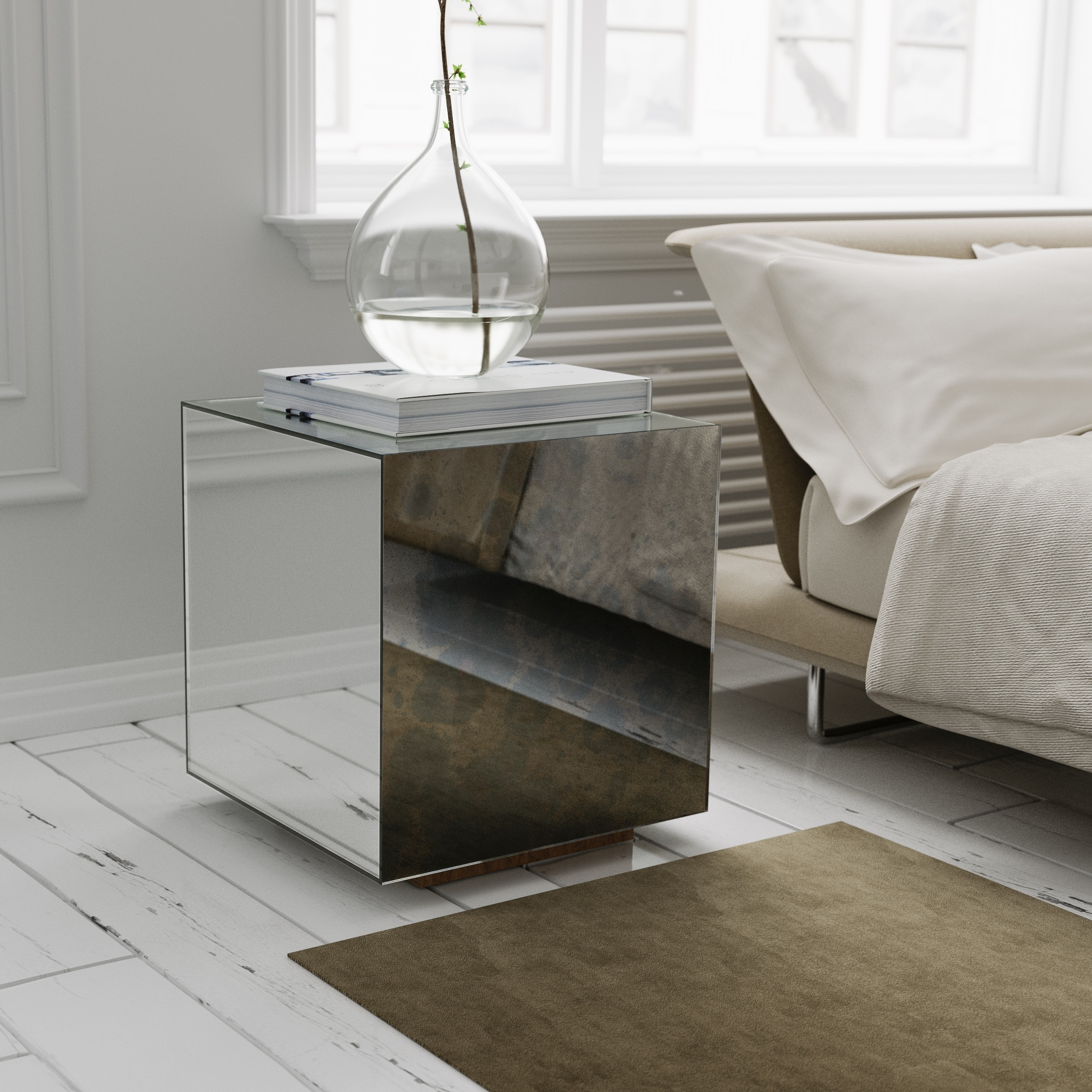 Nightstand made with single antiqued mirror panel.