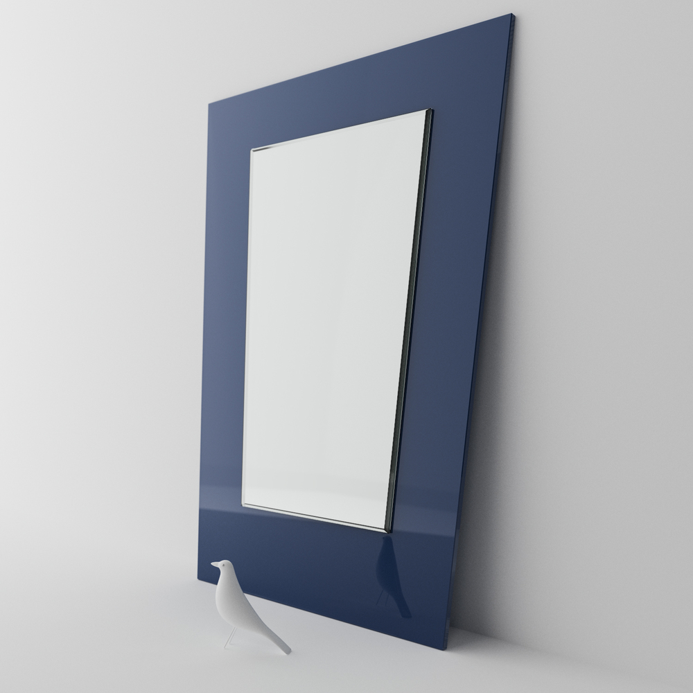 MidCentury Modern blue wall mirror photographed in studio