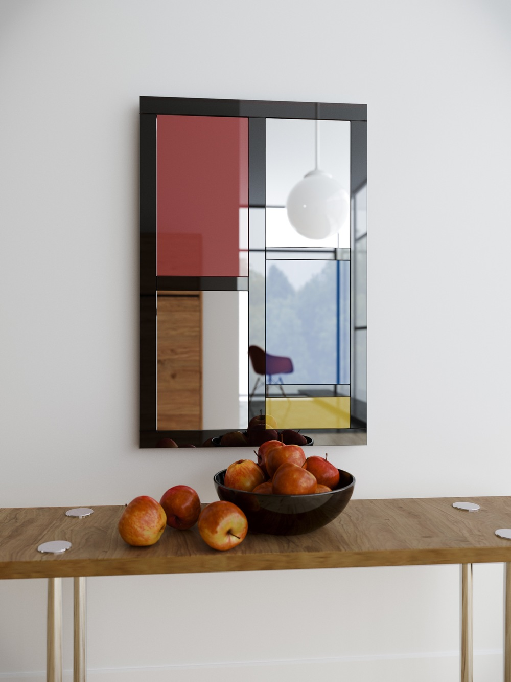 Mondrian inspired colorful wall mirror, photographed in residence outside of LA.