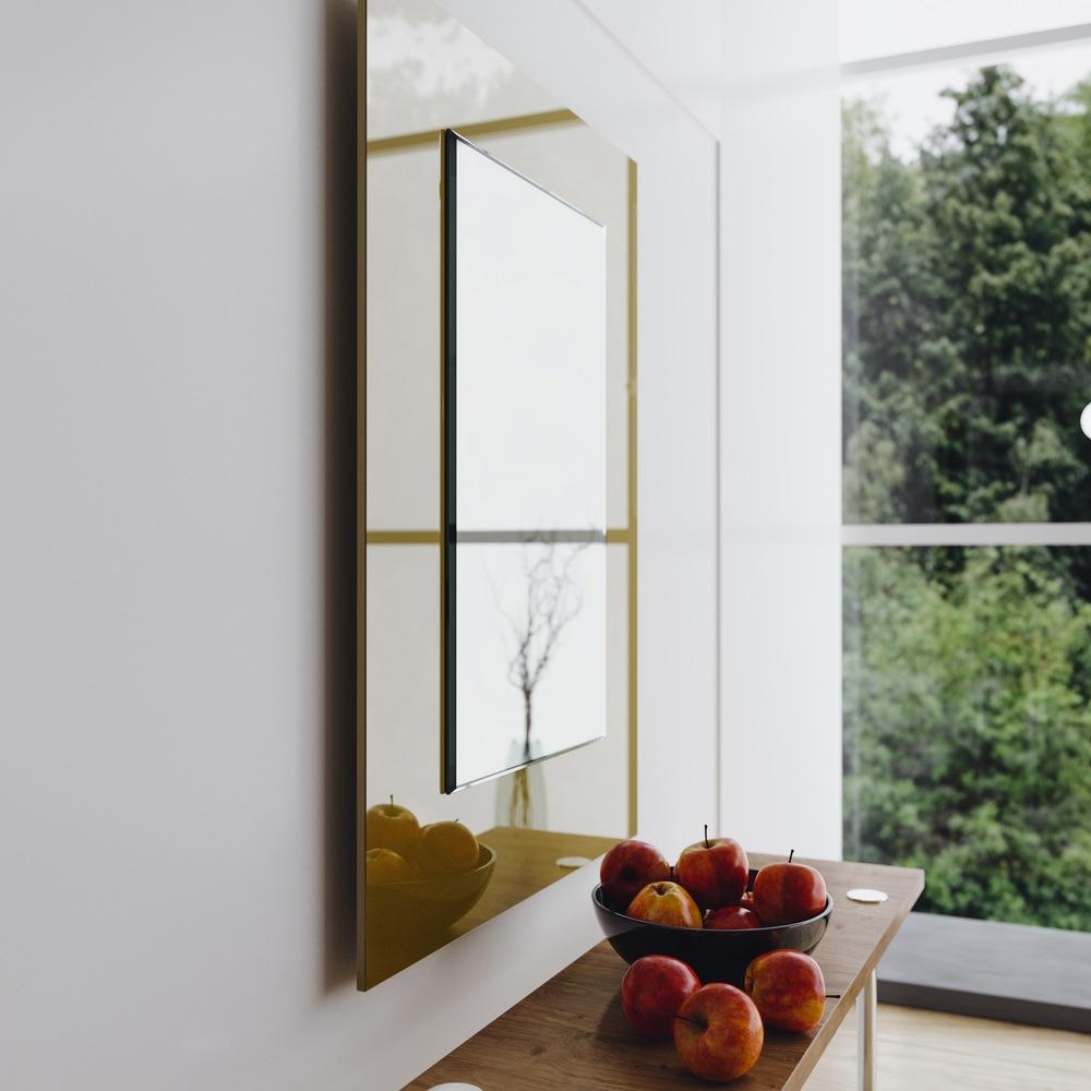 Side view of golden Modern mirror