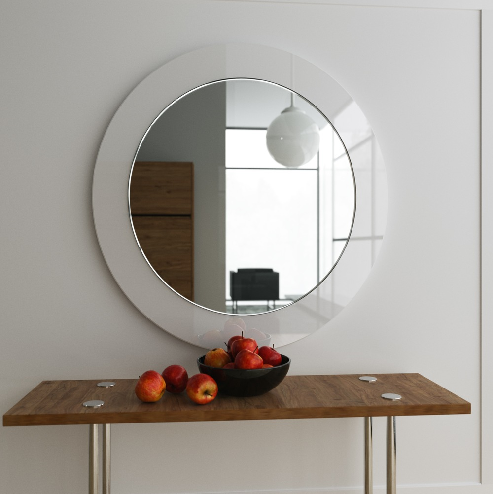 "Milk glass 32"" round mirror, photographed at residence outside of LA."