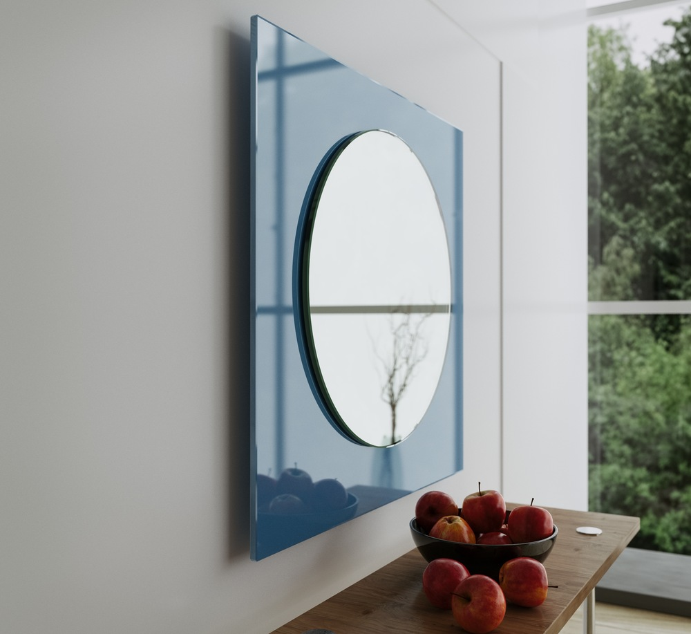 Side view of light opalescent blue hanging mirror.
