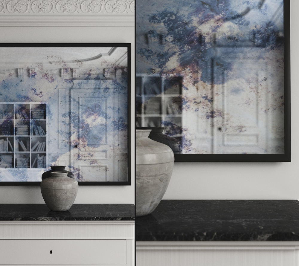 Composite photo of colorful blue and violet mirror captured in subtle black frame.