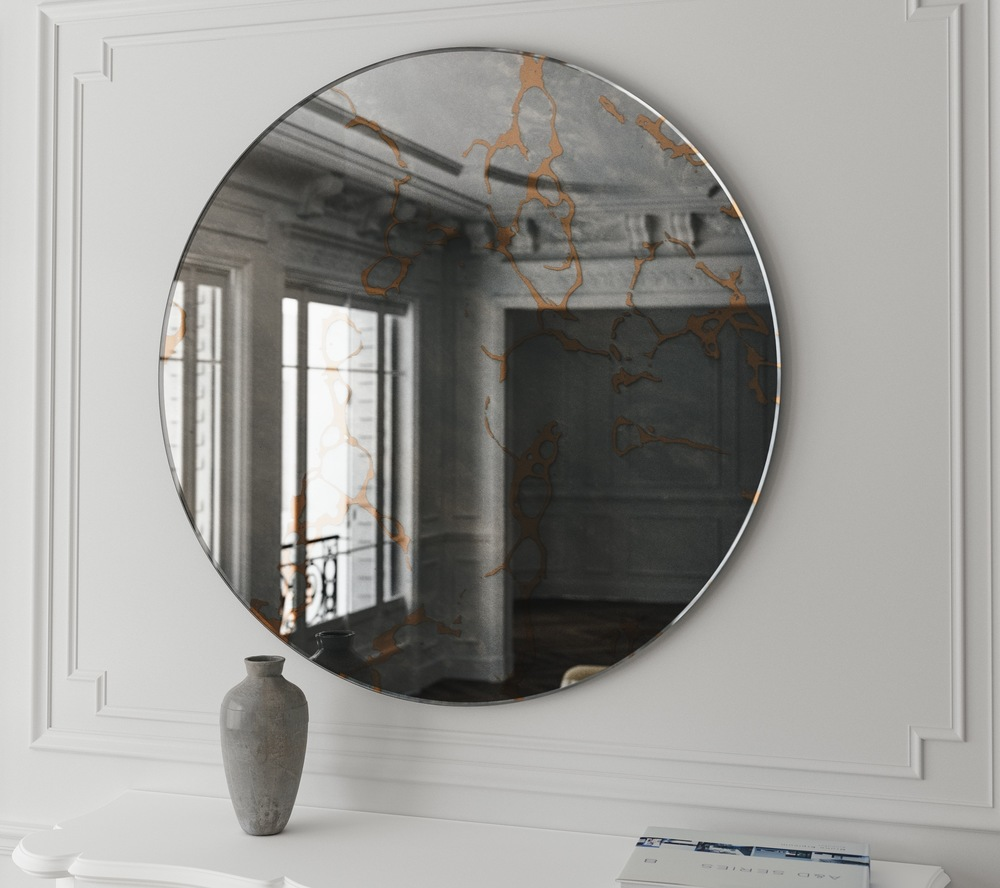 Hanging wall mirror with golden leaf appearance, perfect for a Rococo interior