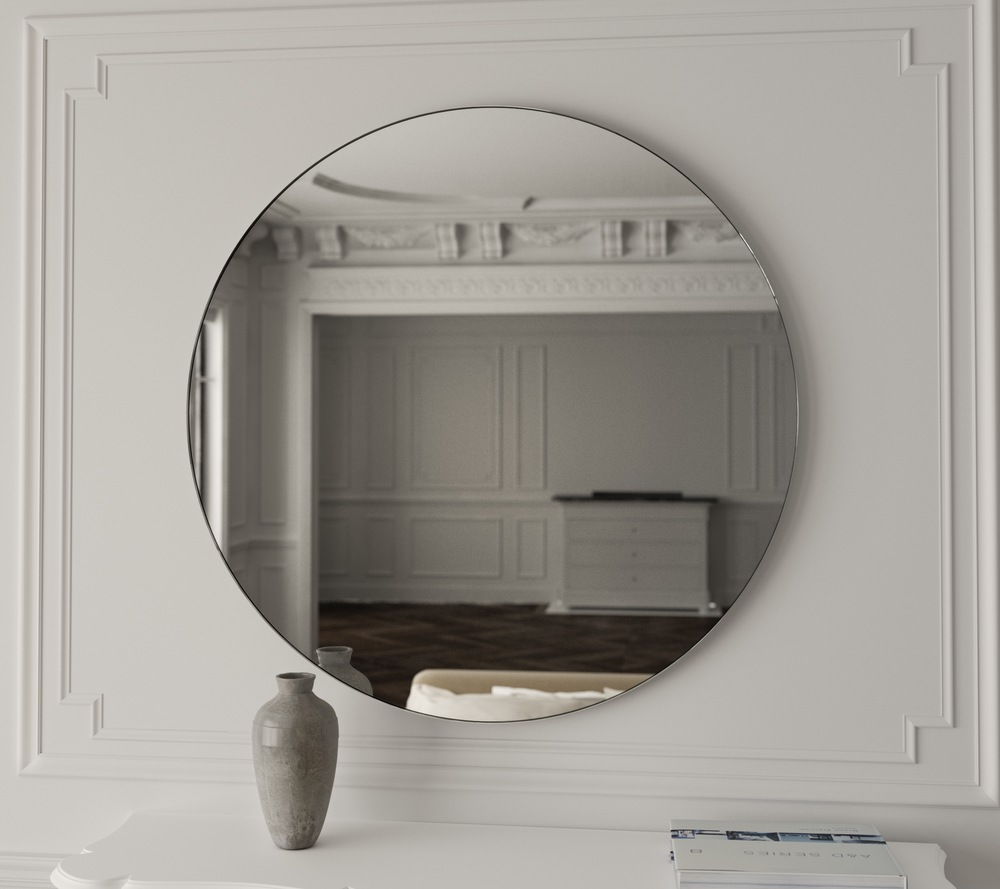 Front view of clear round Art Deco style mirror from Mirror Coop