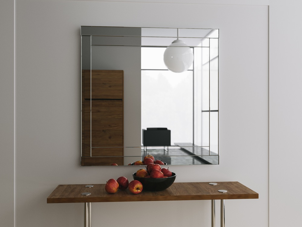 Clear silver midcentury style mirror