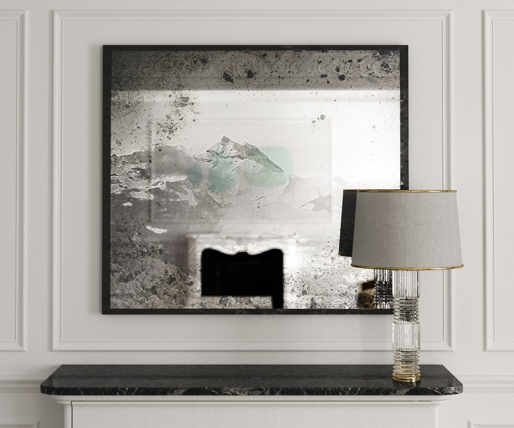 Mountain range in front view of Antiqued Wall Mirror