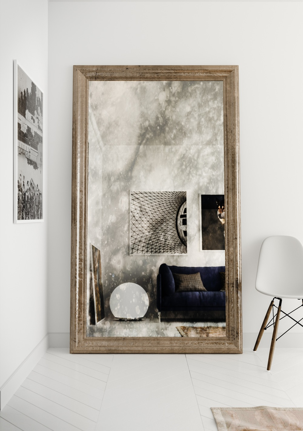 Antiqued Mirror with Golden Frame