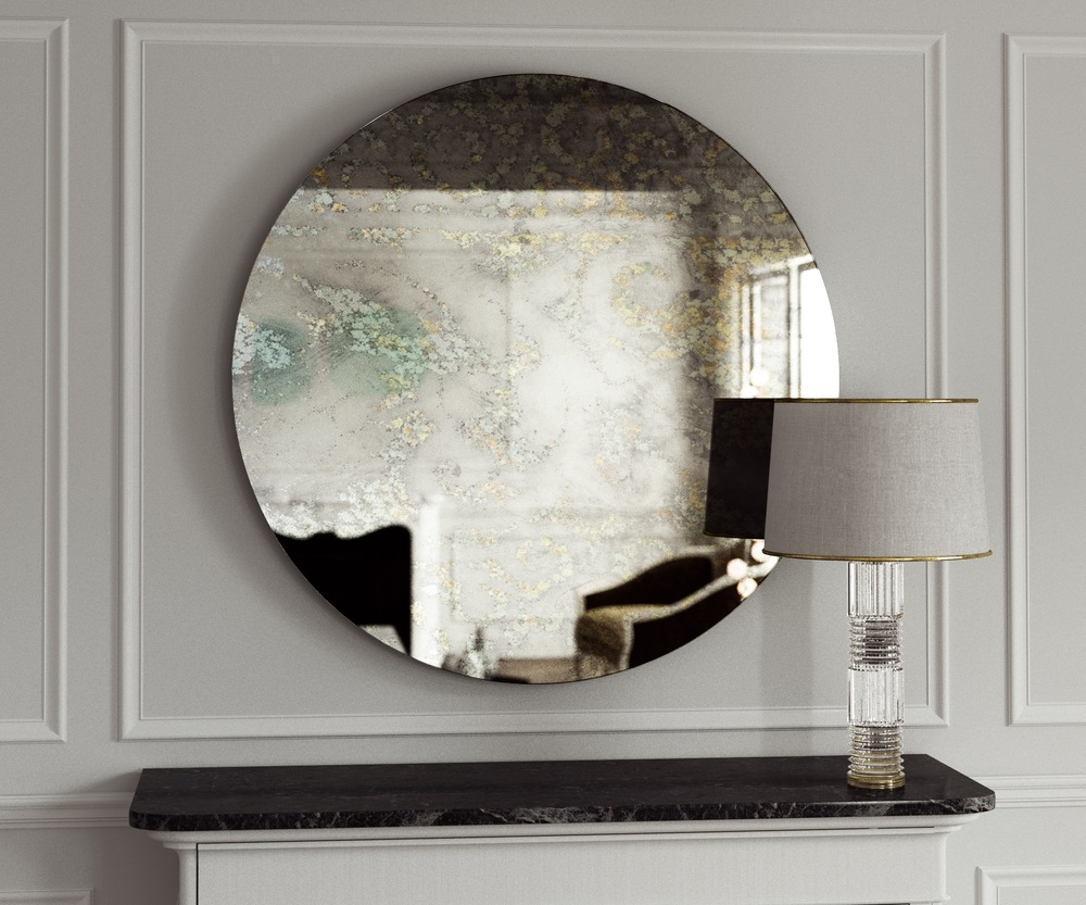 Golden splattered antiqued wall mirror.