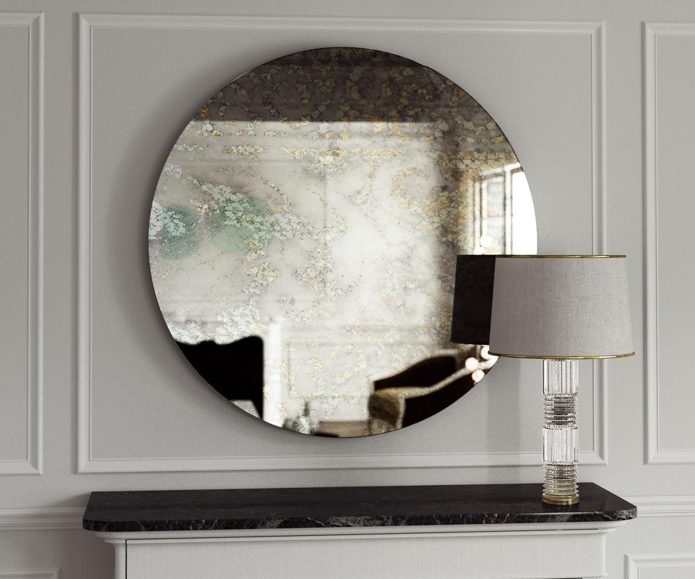 Golden splattered antiqued wall mirror.