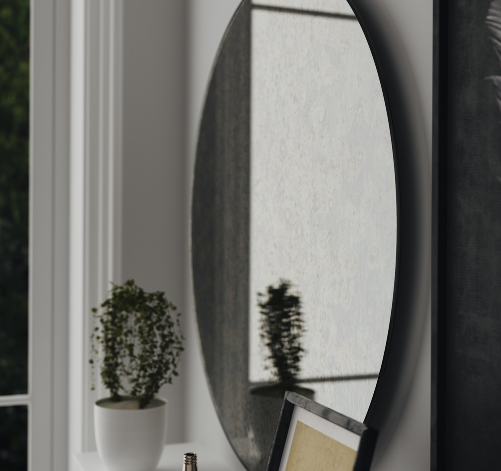 Detailed view of antiqued mirror