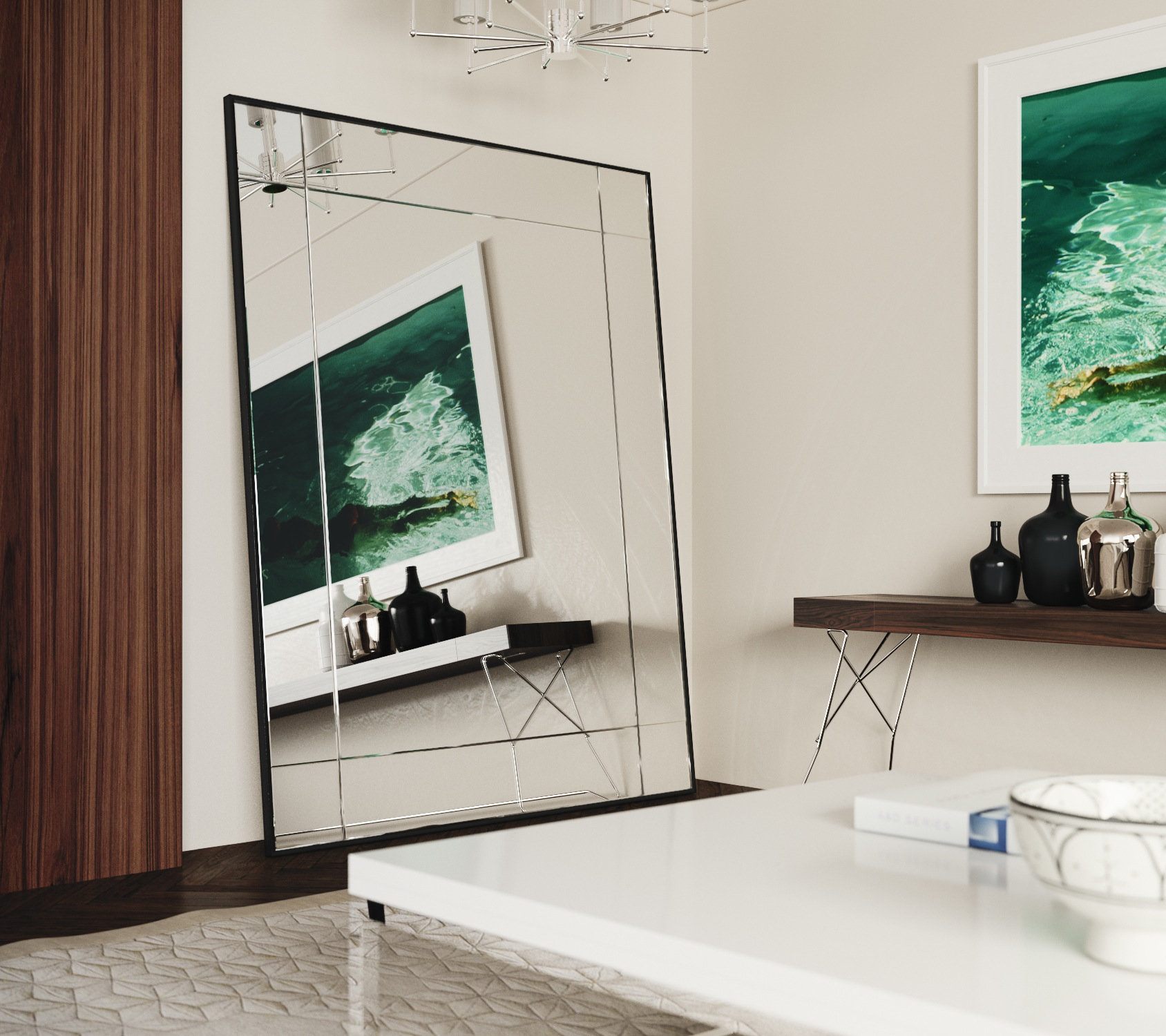 Leaning mosaic wall mirror by Mirror Coop
