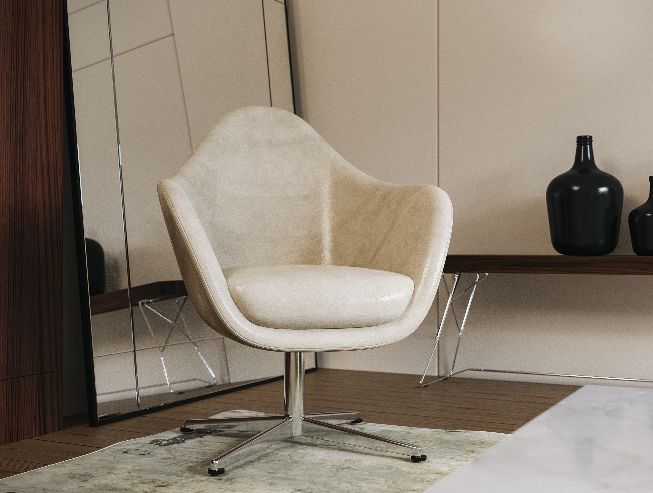 leather chair in front of mosaic mirror