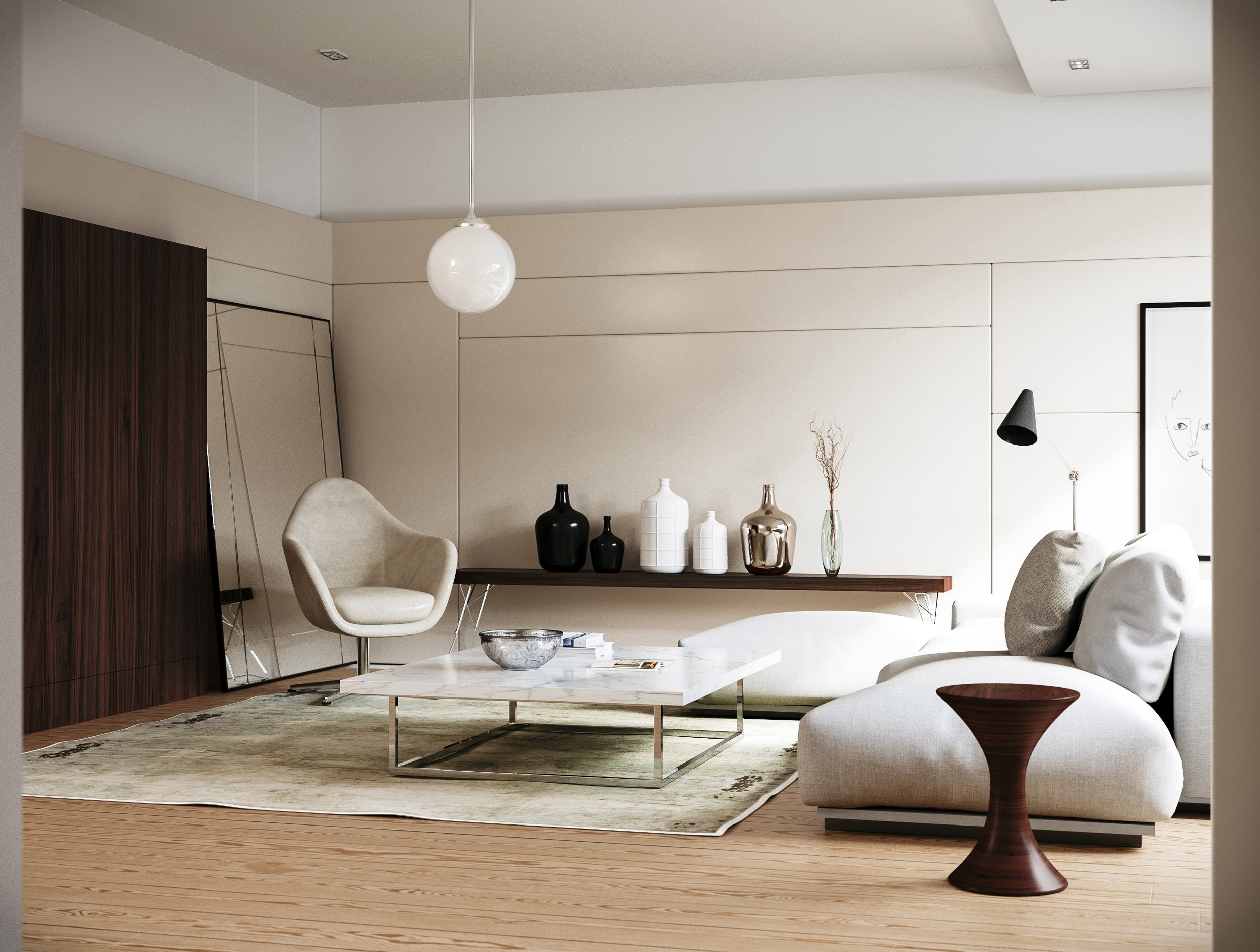 Full modern interior featuring leaning wall mirror