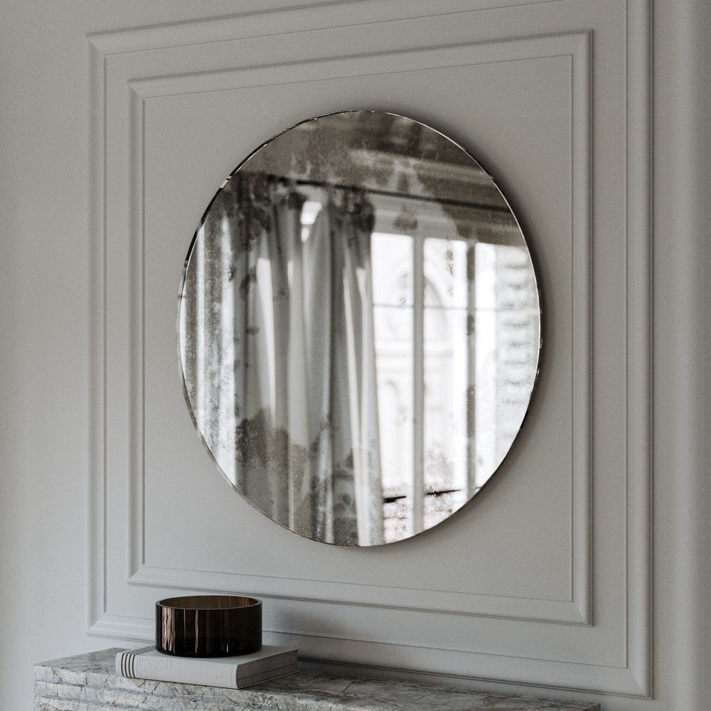 Side angle photo of wall mirror