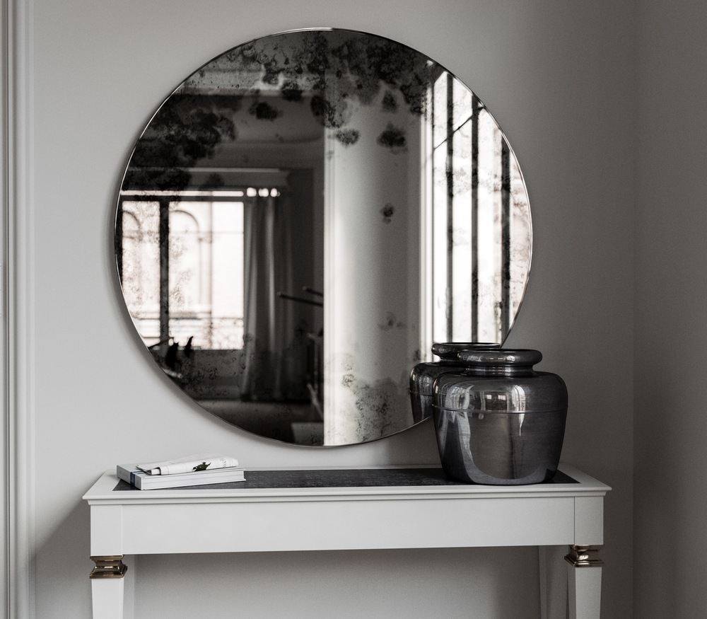 Another view of frameless Round Wall Mirror