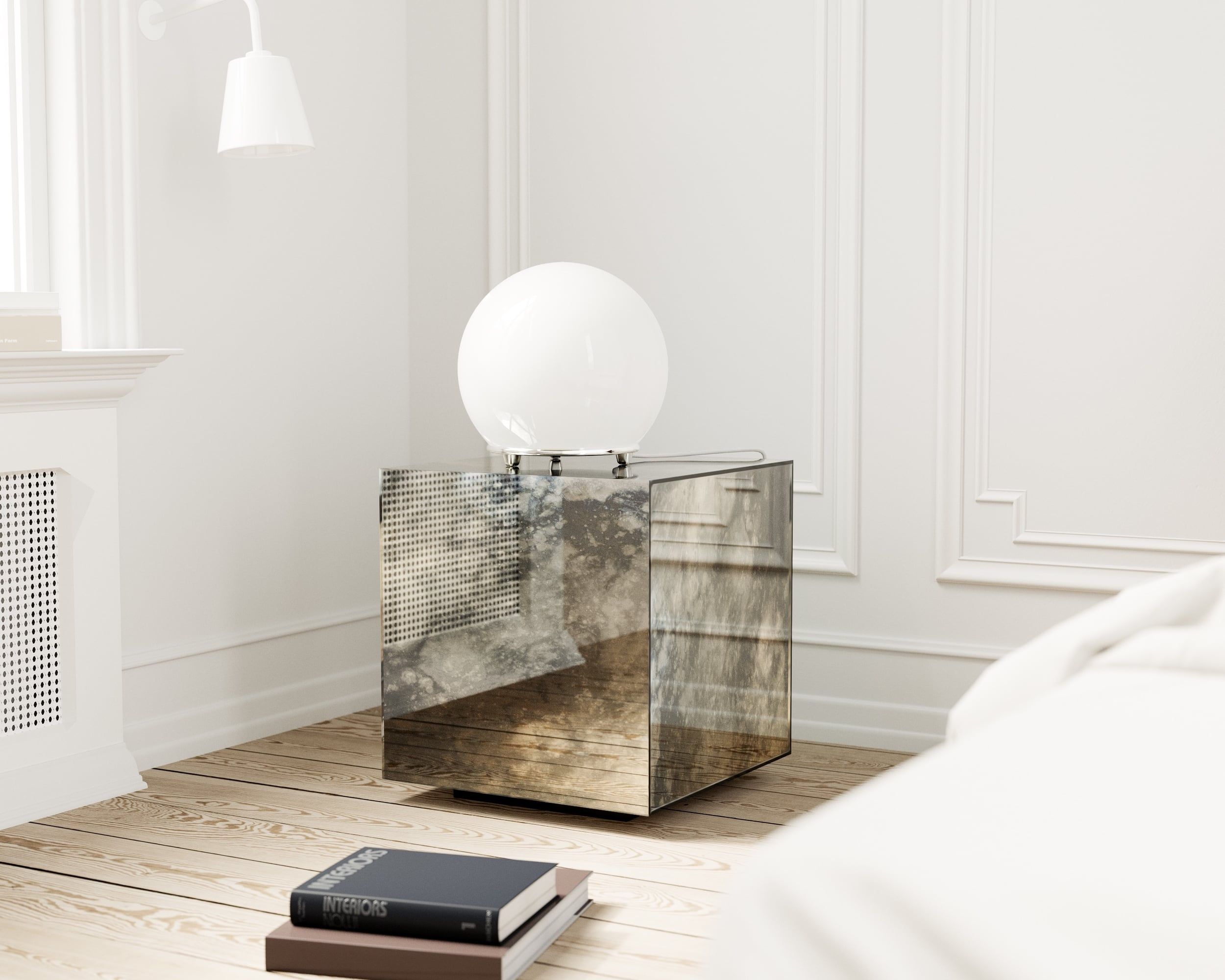 Mirrored nightstand with stormy antiqued mirror panels