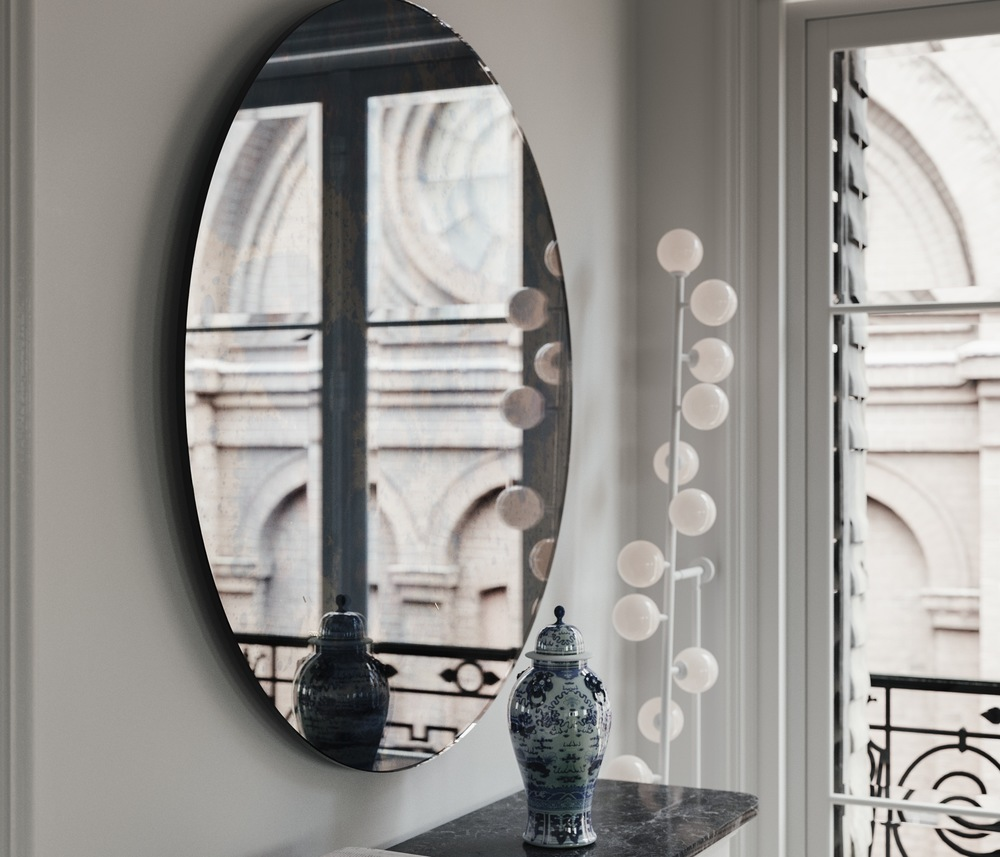 Side view of blue antiqued mirror