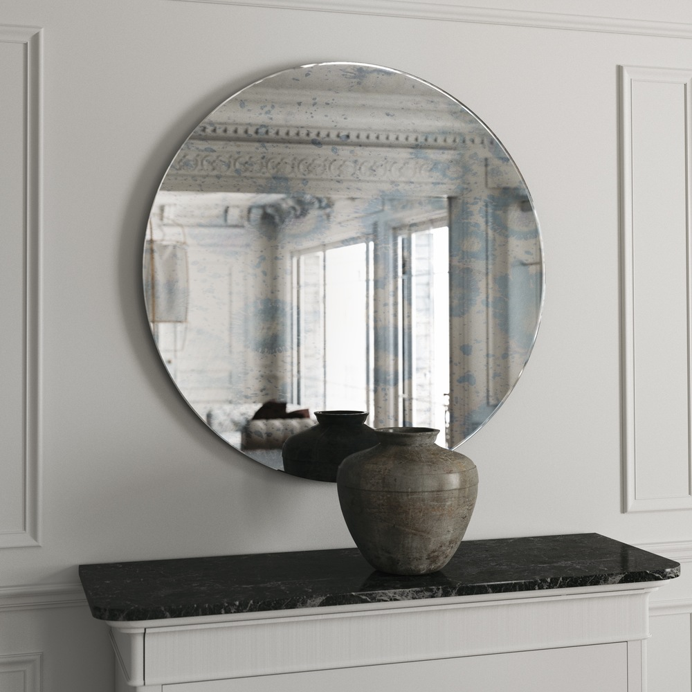 Frameless Round Mirror with Similar blue pattern