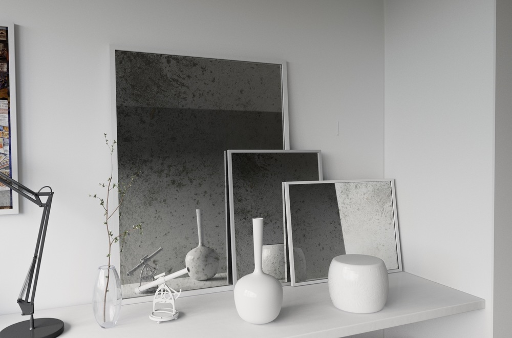 Similar white framed mirrors. (None are quite square though!)