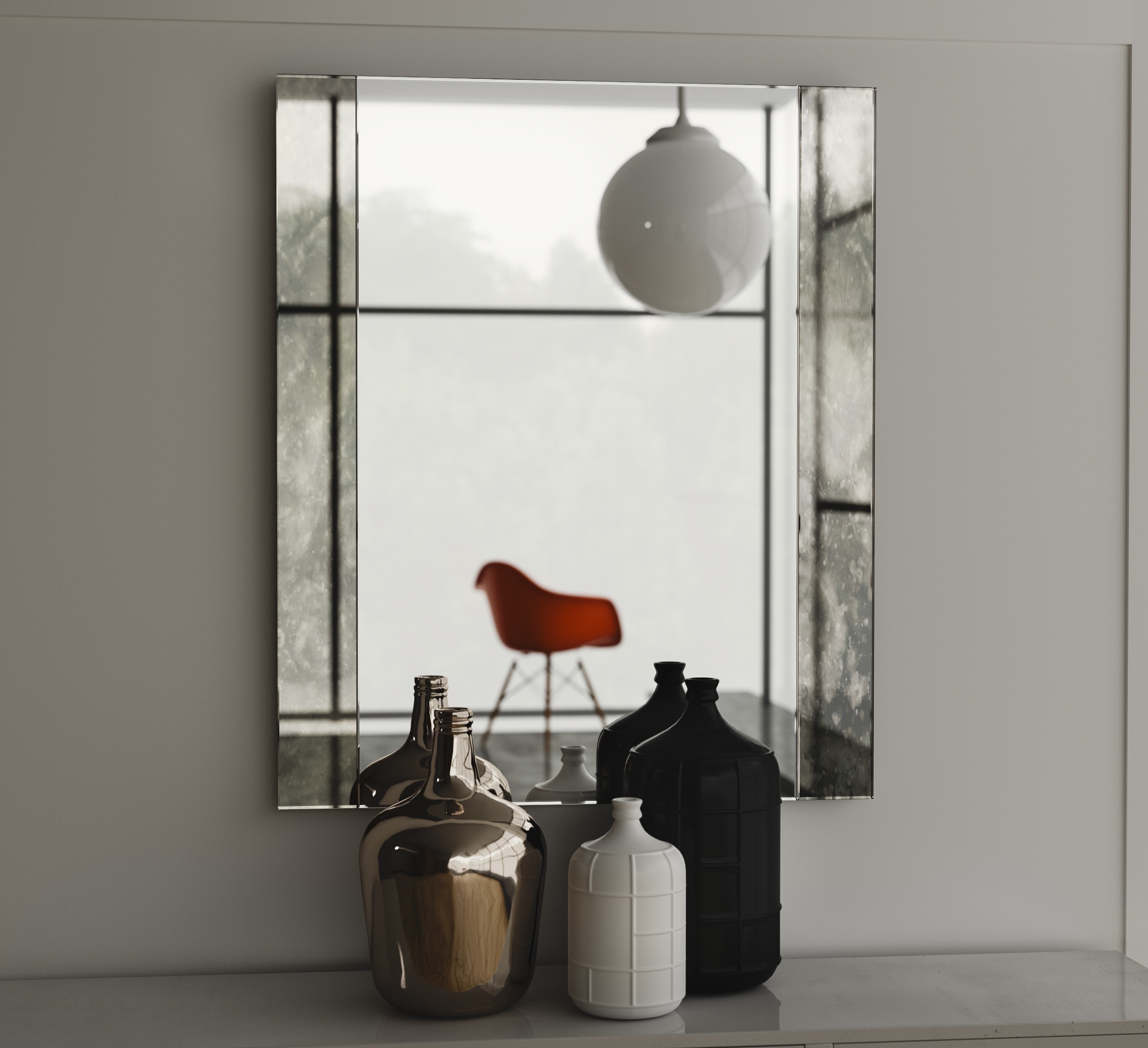 Wall mirror with Antiqued Side Panels
