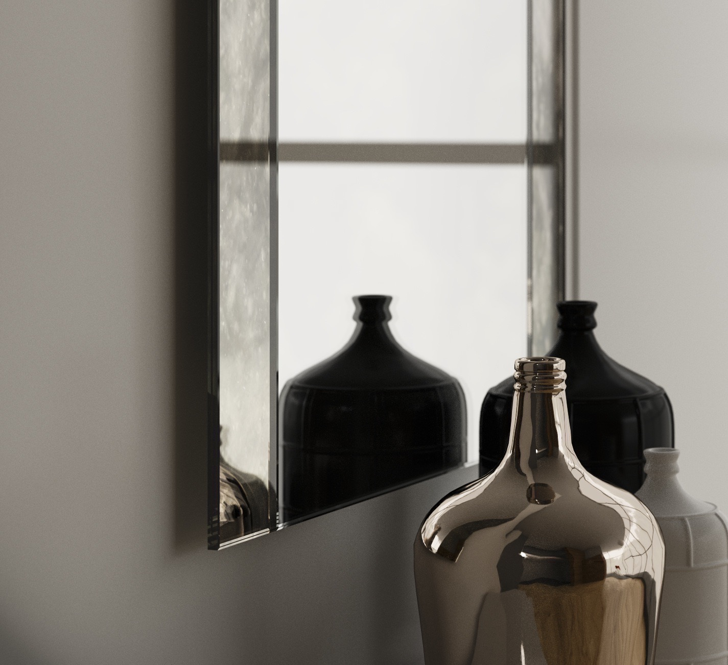 close up view of the antique sides mirror